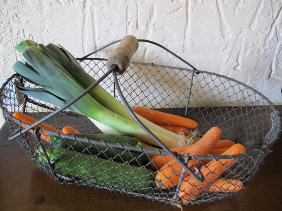 RESERVED FOR JESSICA - Wirework harvest basket Vintage antique French  c1920