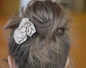 brown cotton rose hair clip