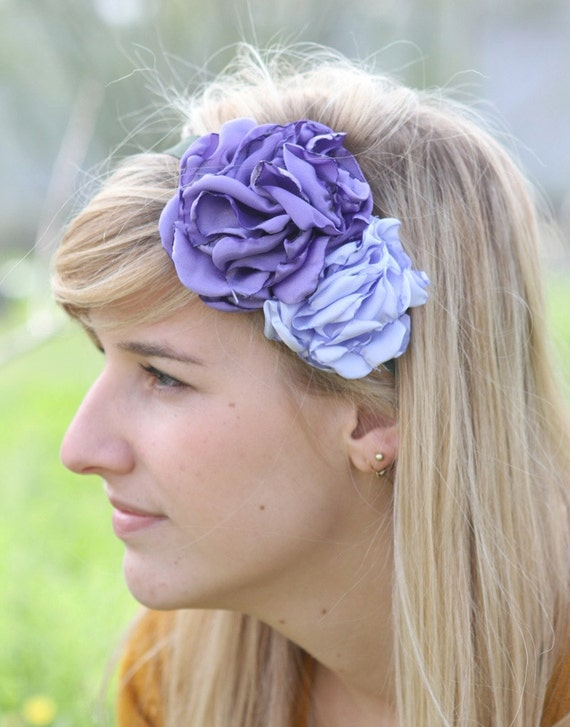 Eco friendly upcycled fabric flower unique statement headband--purple and lavender on green fold over elastic