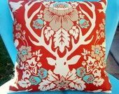 Pillow cover orange, aqua, woodland deer fabric by Joel Dewberry 14 inch
