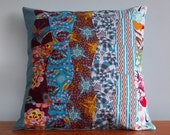 Quilted patchwork pillow cover blue Anna Maria Horner fabric 18 inch