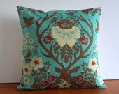 Pillow cover aqua, orange woodland deer fabric 14 inch