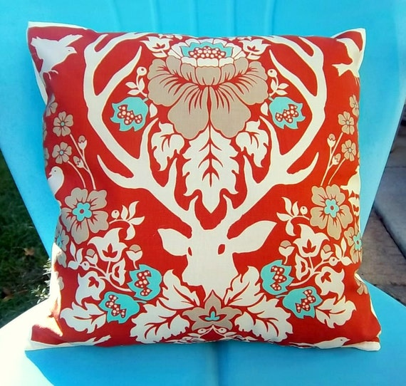 Pillow cover orange, aqua, woodland deer fabric by Joel Dewberry 14 inch