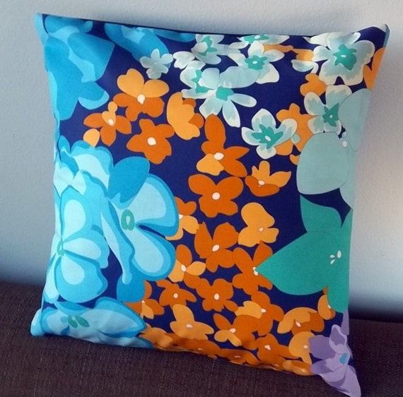 Missoni Fabric: Pillow Cover Missoni Floral Fabric In Blue Green Gold Cotton