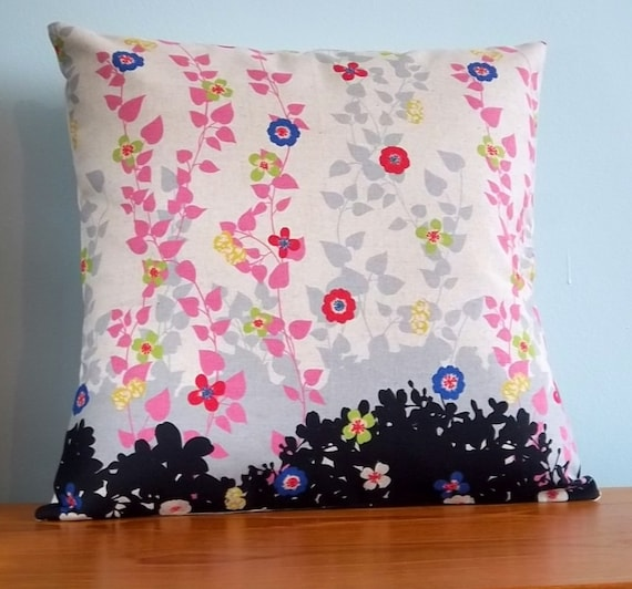 Echino pillow cover flower vines pink, grey, purple on linen/cotton fabric 18 inch