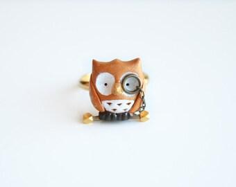 Albert the owl ring - w/ 24k gold vermeil nugget and brass bar-