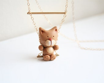Meow-Meow the cat necklace on a swing -14k Gold filled-