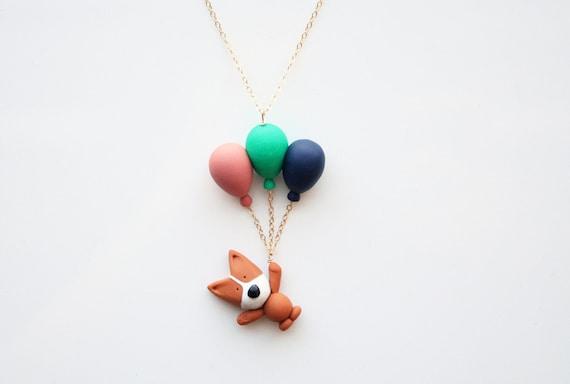 Mocha the Pembroke Welsh Corgi flying balloon necklace -14k gold filled-