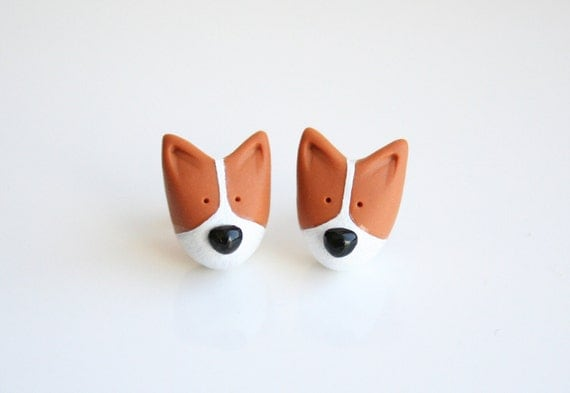 Mocha the Pembroke Welsh Corgi stud earring