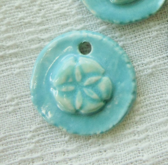 2 Sand Dollar Porcelain Turquoise Charms