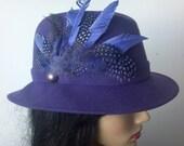 Treasury Purple Wool Felt Fedora Style Hat