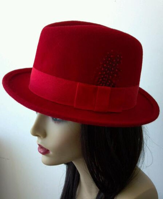 Womens Wool Felt Red Godfather Feather Hat
