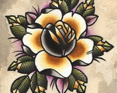 Rose Gold Ochre Tattoo Flash Print Tom Ruki