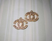 2 pieces gold & crystal Chanel Inspired Logo Coco Charms - DIY jewelry supplies