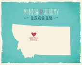 Montana USA Custom Wedding Print Destination Wedding Gift  Memento Marriage Couple print Signature Guest Books USA State Signature Map