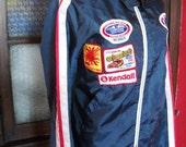 vintage 80s mens DRAG RACE mechanics patch jacket