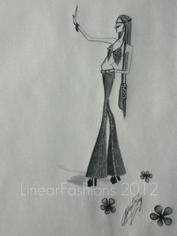 Fashion Illustration 1970s Hippie Girl Boho Art Decor