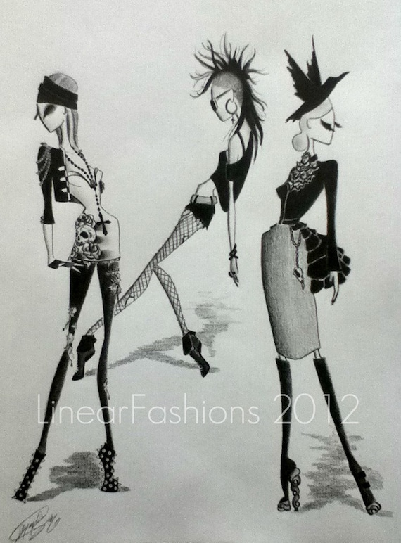 Heavy Metal Trinity Fashion Art Illustration