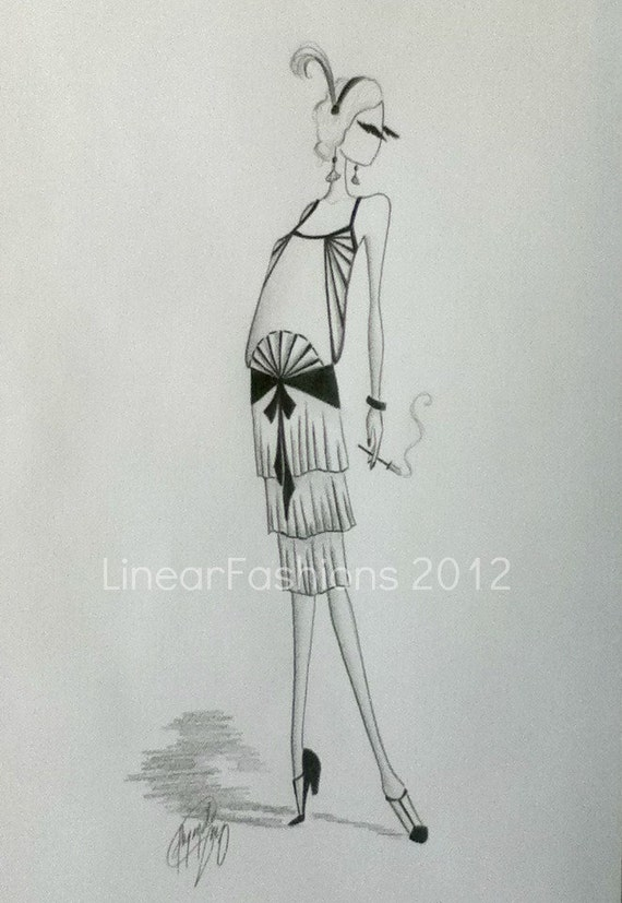 Fashion Illustration Sketch 1920s Art Deco Flapper Decor