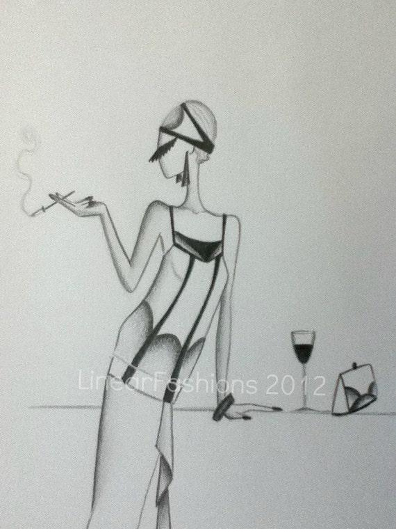Fashion Illustration Sketch 1920s Art Deco Flapper Decor