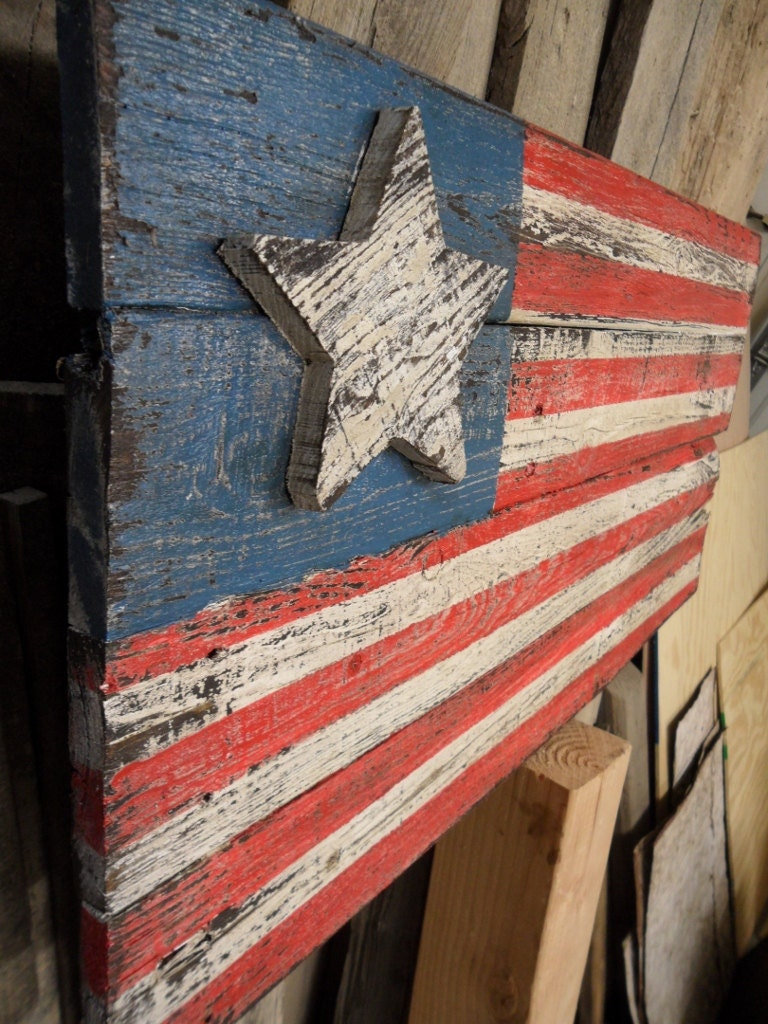 Americana Flag Barnwood Style Flag Distressed Flag Old West