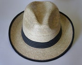 12 Natural Straw Fedora Hat , black elastic with white seams,  great for spring and summer.