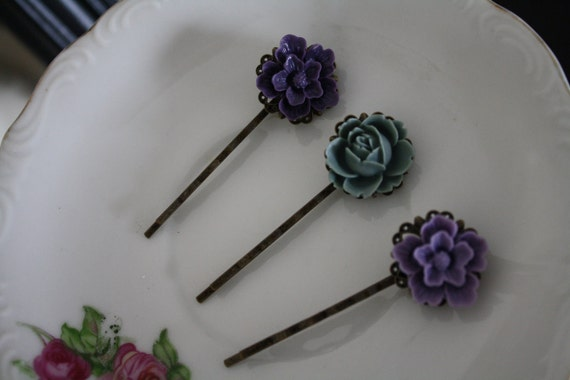 Dark Lavender collection, hair clips, bobby pins