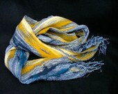 Nuno Felted Scarf, open weave gauze and yellow and blue wool hand felted wool scarf