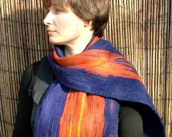 Purple burnt orange and yellow nuno felted wool scarf