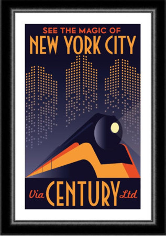 Art Deco 1930's New York City Manhattan Train Travel