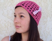 Hat Cloche Beanie Cap Pink Crocheted Peace Bow Pink Crocheted Hat Hippie Beach Boho Fashion