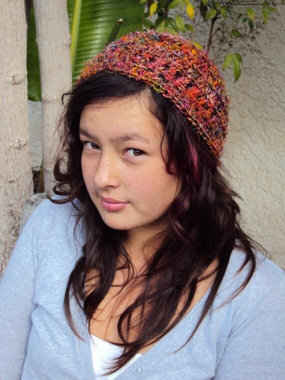 Hat Crochet Recycled Silk Yarn Cloche Beanie Skullcap Red Multi Colored Fall Autumn Fashion Hat Boho Chic Accessory