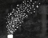 Dreamy Fantasy Digital Print: A swarm of butterflies escaping an antique perfume bottle