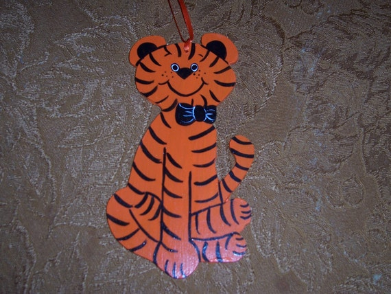 Tiger handpainted wooden ornament--FREE PERSONALIZATION