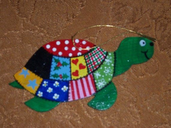 Turtle handpainted patchwork wooden Christmas ornament--FREE PERSONALIZATION