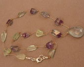 Faceted prehnite briolette pendant necklace with banded fluorite nuggets