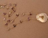 Solar quartz pendant necklace with moss amethyst rondelles