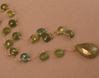 Brilliant vesuvianite pendant necklace with paraiba chalcedony briolettes