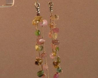 Tourmaline briolette waterfall earrings
