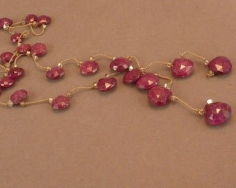 Faceted natural ruby briolette lariat with crystal, hand knotted on silk
