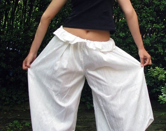 Handmade White Culottes with a playful frill waist. 100% Natural silk. Summer Must-Haves.
