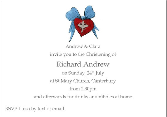 8 Christening invites with envelopes 'A boy's heart'