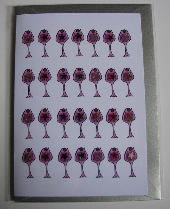 1 Birthday Greeting Card with envelope 'Cocktail Glasses'
