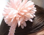 Sequin Headband Daisy Flower Peach Stretchy - Peach Flower Headband Teen Prom or Childrens Hair Band OOAK