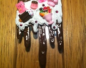 Melted cookies and Ice cream cake Chocolate and White Deco den/kawaii cell phone case