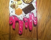 Melted cookies and Ice cream cake Pink and White Deco den/kawaii cell phone case