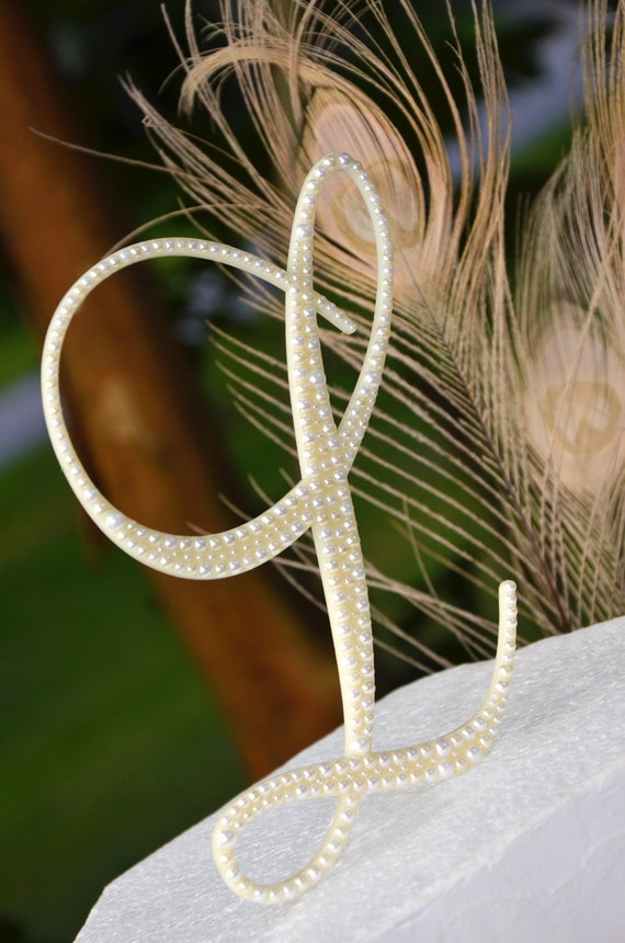"5"" Single Custom Pearl Monogram Wedding Cake Topper"