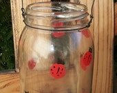 Painted Ladybugs hanging Jar candle holder