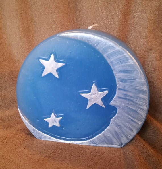 cresent moon and stars candle