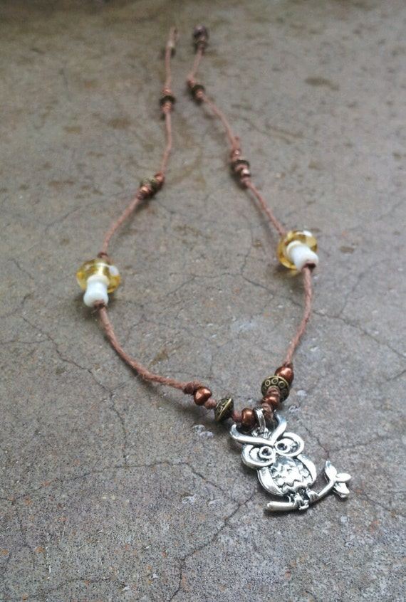 Owl Hemp Necklace with golden glass mushrooms